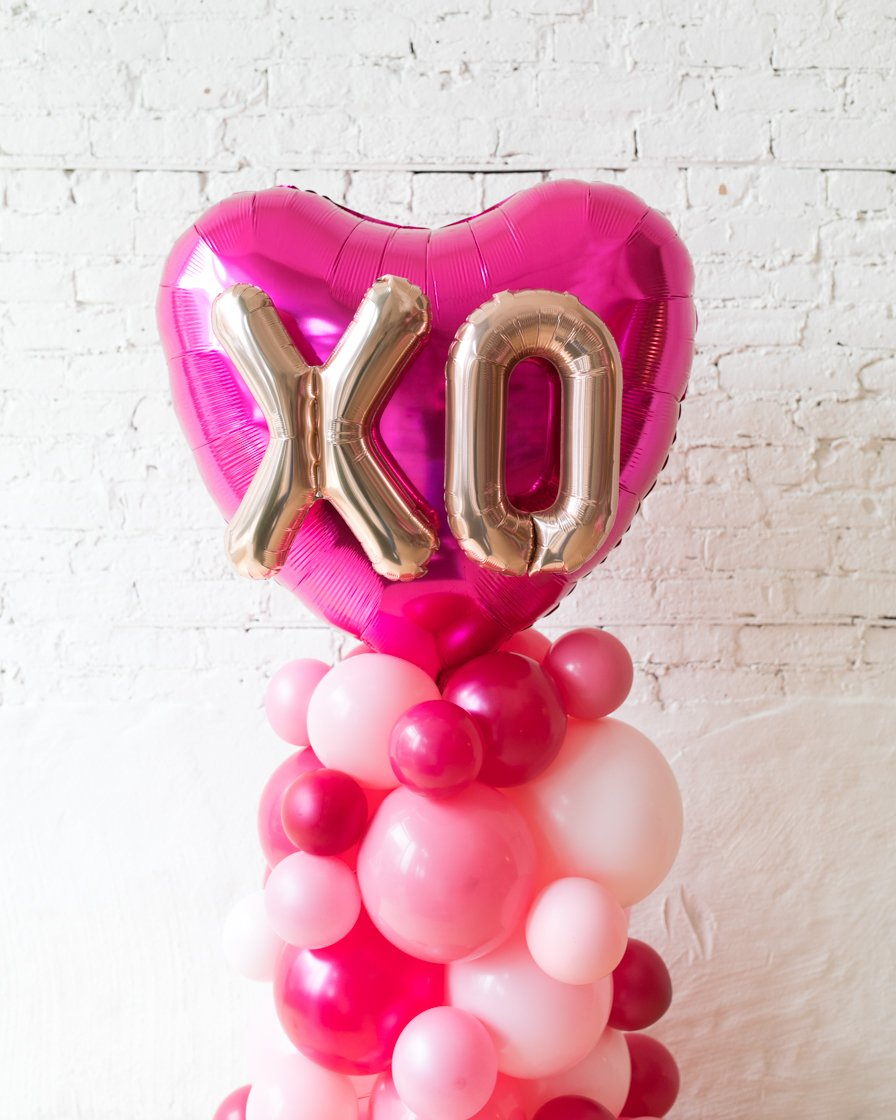 Shades of Pink Palette and Magenta XO Heart Balloon Column - small