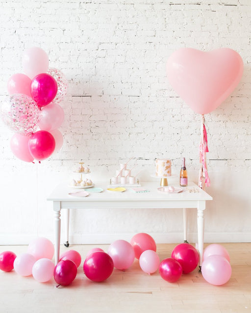 Shades of Pink Palette Confetti Bouquet and Giant Pink Heart Balloon Set