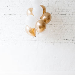 White & Gold Chrome Balloon Bouquet Local