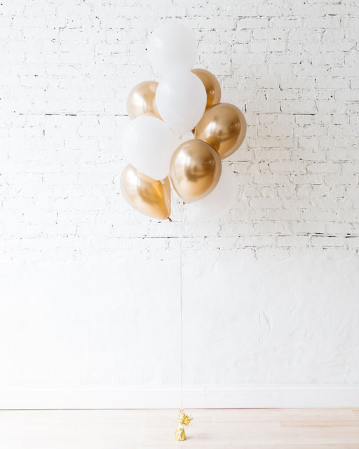 White and Gold 11in balloons - bouquet of 10
