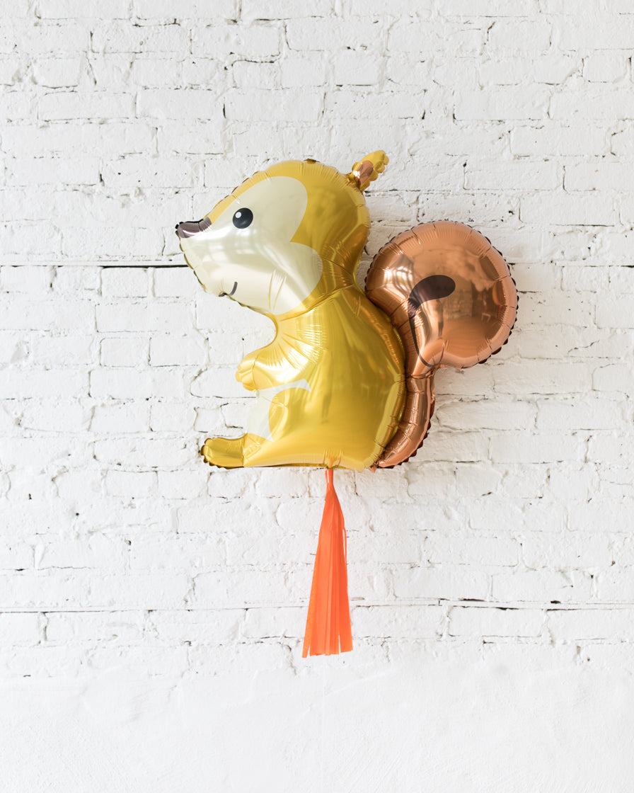 GIFT-36in Squirrel Foil Balloon and Orange Skirt