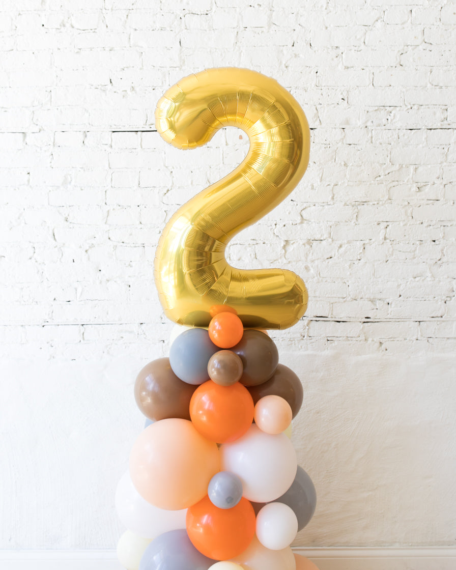 Woodland Theme - Customizable Number Balloon Column - 4FT