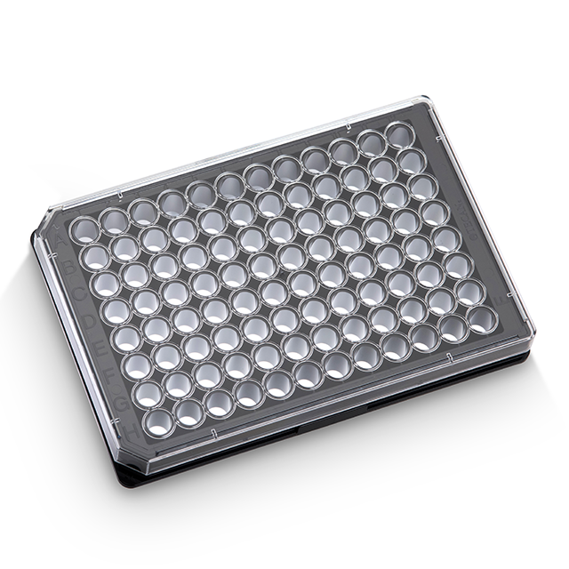 96 well, black, clear flat bottom, TC treated, sterile, microplates, with lids - 30122306