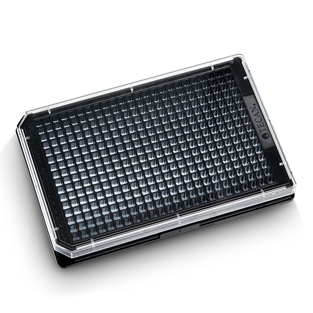 384 well, black, clear flat bottom, TC treated, sterile, microplates, with lids - 30122307
