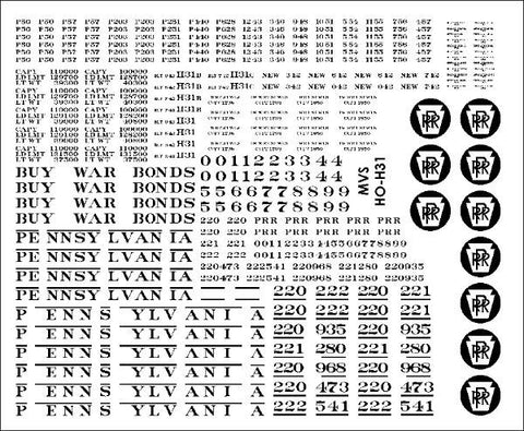 HO PRR H31 Hopper Decals