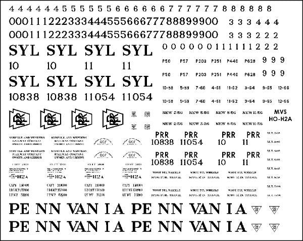 HO PRR H2A Hopper Decals