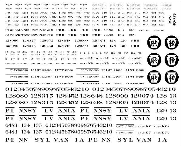 HO PRR K7/K7a/K8 Stockcar Decals