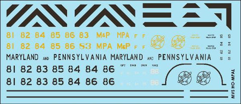 HO Maryland & Pennsylvania Diesel Decals (1969-1992)