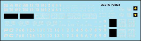 HO Penn Central & Conrail F33 Flatcar Decals