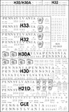 HO PRR Shadow Keystone Covered Hopper Decals