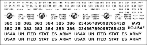 HO US Army Transportation Corp Flatcar Decals