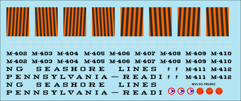 HO Pennsylvania Reading Seashore Lines RDC Decals