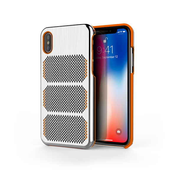 Extreme GTR for iPhone X Brushed Steel / Orange Trim