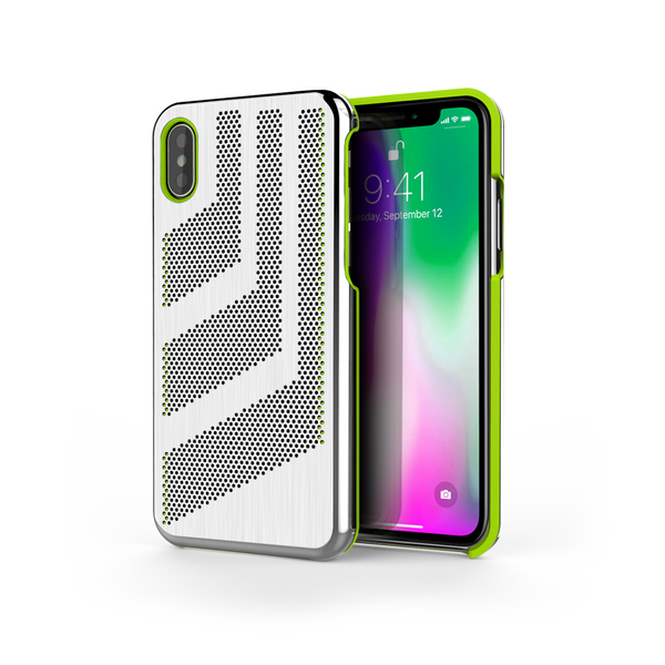 Intense GTS for iPhone X Brushed Steel /  Lime Green Trim