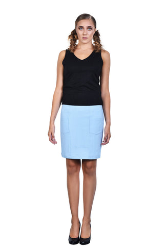 Baby Blue Knee Length Skirt