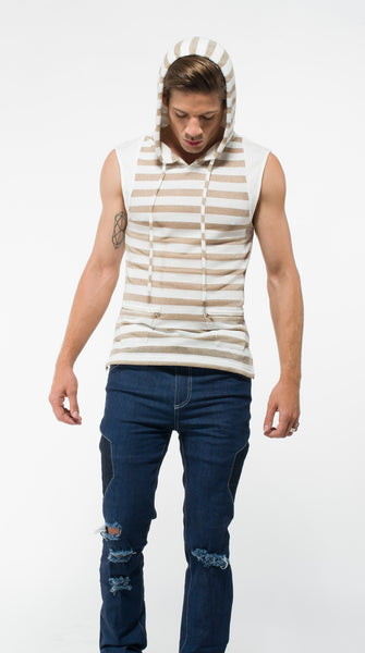 Men's Sleeveless Gold Hoodie