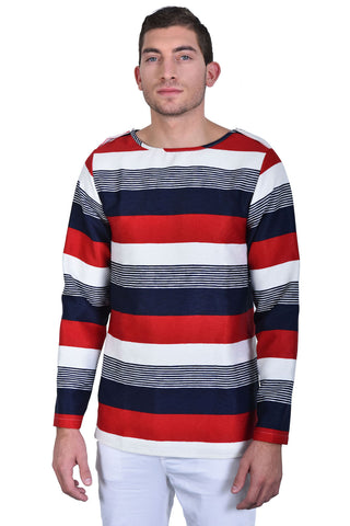 Men Button Striped Jersey