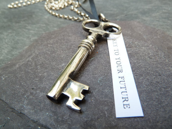 Chunky Victorian Silver Key Pendant | Necklace