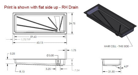 "Tank - Holding - 24"" x 63"" x 7"" - Right Side Drain"