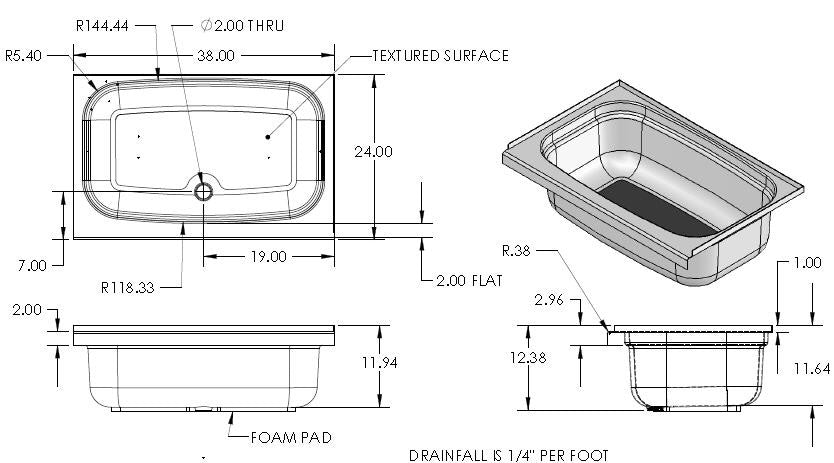 "Tub - Full - 24"" x 38"" - Center Drain - Parchment"