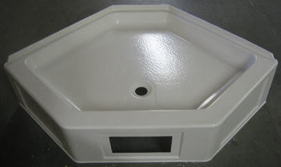 "Shower - Pan - 32"" x 32"" - Ctr Drain - 9 1/2"" Skirt - w/Access - Parch"