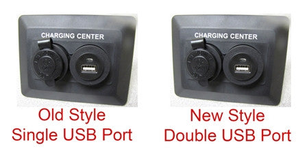 Plate - Charging Station - Dual - w/12V/USB Port - Black