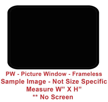 "Window - 12"" x 35"" - PW - Grey 20 - Temp - Black - Frameless - F300-43934"