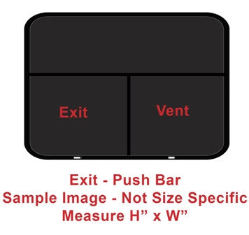 "Window - 48""H x 60""W - Exit - Push Bar - Grey 20 - Temp - Insulated - Black - Frameless"