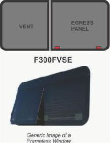 "Window - 60"" x 29"" - FVSE - Grey 20 - Temp - Black - w/Screen - Frameless - F300-43231"