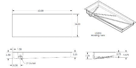 "Tank - Holding - 24"" x 63"" x 7"" - Left Side Drain - CS Only"