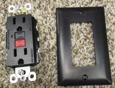 Recept - GFI - Self Test - 15A - 125V - Black - w/Cover - Cooper #SGF15BK