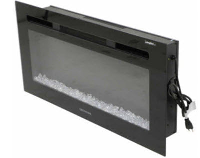 "Fireplace - 48"" - Electric - Flush Mount - w/Remote Control - RV48D80F-C1 - w/Crystal Ember Bed - Black"