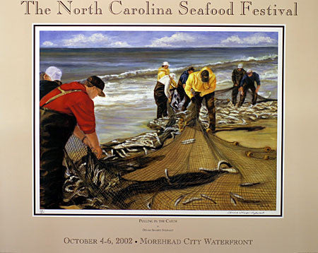 """Pulling In The Catch"" by Dinah Sharpe Sylivant- 2002 Commemorative Poster"