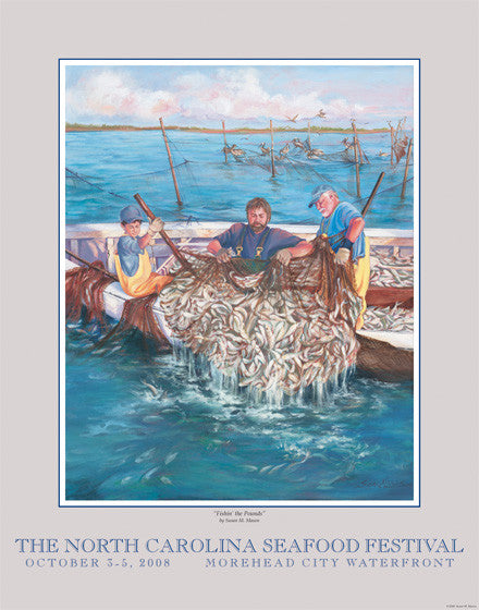 """Fishin' The Pounds"" by Susan M. Mason- 2008 Commemorative Poster"