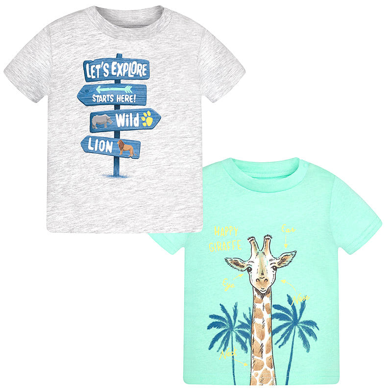 Mayoral baby boys grey teal t shirt 2 pack for Boys teal t shirt