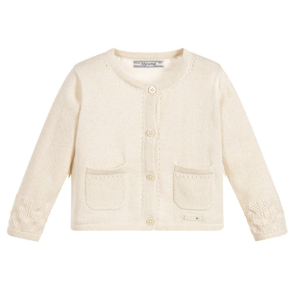 Mayoral Chic - Baby Girl - Sparkly Gold Knitted Cardigan