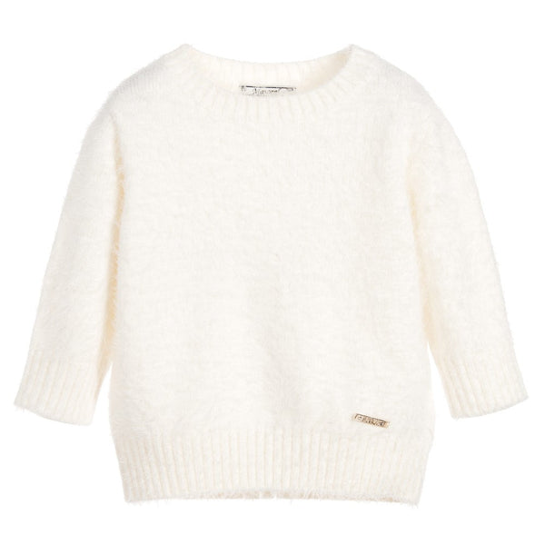 Mayoral - Girls - Ivory Long-Hair Knit Sweater