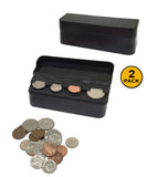 JE (2 PACK) Coin (Quarter, Dimes,etc) Change Holder Storage Sorter Case With Lid for Car, Truck, RV Interior Accessories