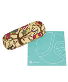JAVOedge Owl Fabric Print Eyeglass Clam Shell Style Case with Bonus Mircofiber Cleaning Cloth