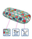JAVOedge Elephant Print Fabric Covered Clam Shell Style Eyeglass Case with Bonus Microfiber Glasses Cleaning Cloth