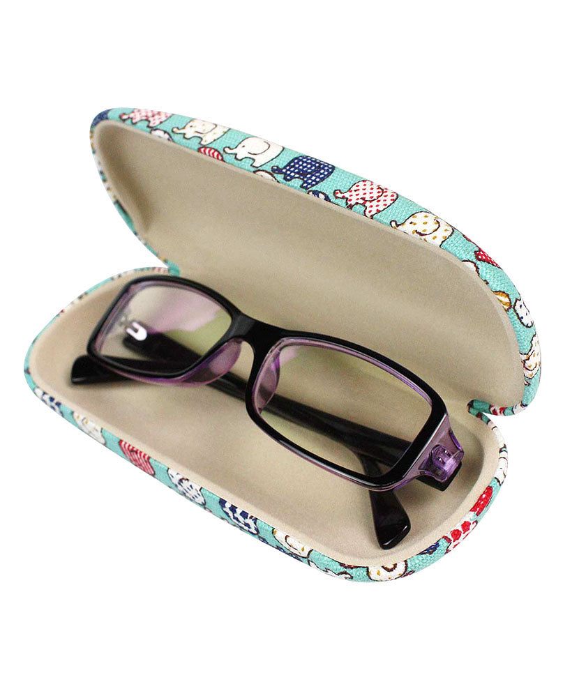 JAVOedge Elephant Print Fabric Covered Clam Shell Style Eyeglass Case with Bonus Mircofiber Glasses Cleaning Cloth