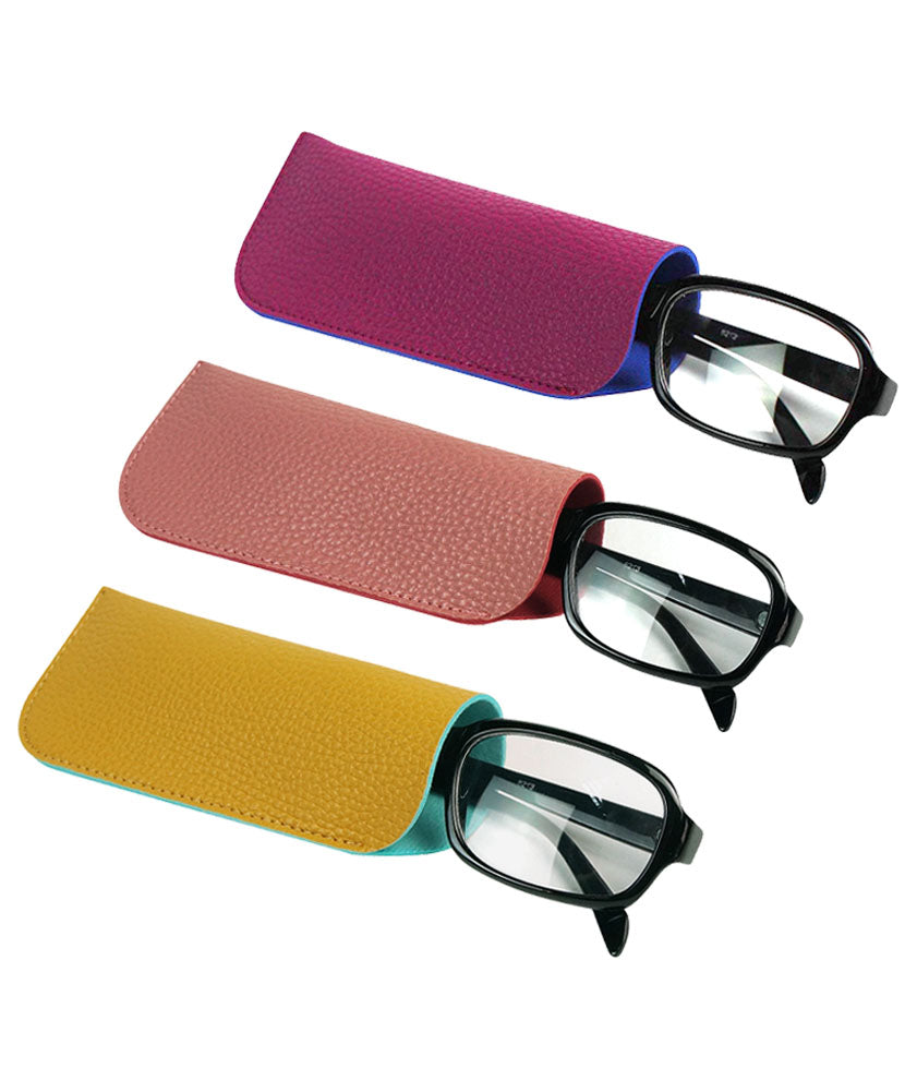 JAVOedge (3 PACK) 2 Tone Style Soft Pouch Eyeglass Storage Case w/ Microfiber Eyeglasses Cloth (Purple, Yellow, Pink)