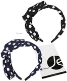 JAVOedge Polka Dot 2 Pack Korean Style Large Bow Headband (Black and Blue)