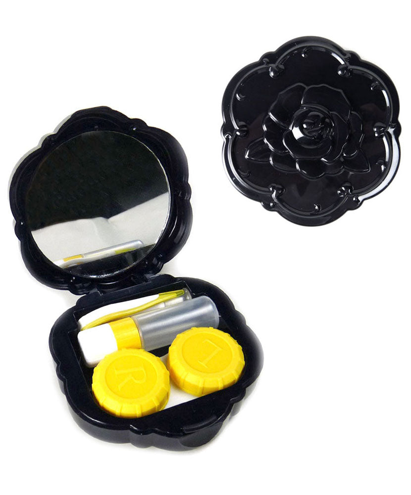 JAVOedge 2 Pack of Black Rose Contact Lens Carrying Case Travel Kit with Mirror and Bonus Mircofiber Cloth