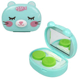 Compact Style 3D Animal Contact Lens Travel Kit Tweezers, Mirror and Twist Cap Lens