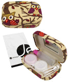 JAVOedge Quality Printed Fabric Contact Lens Carrying Case Travel Kit with Mirror, Tweezer, and Solution Bottle