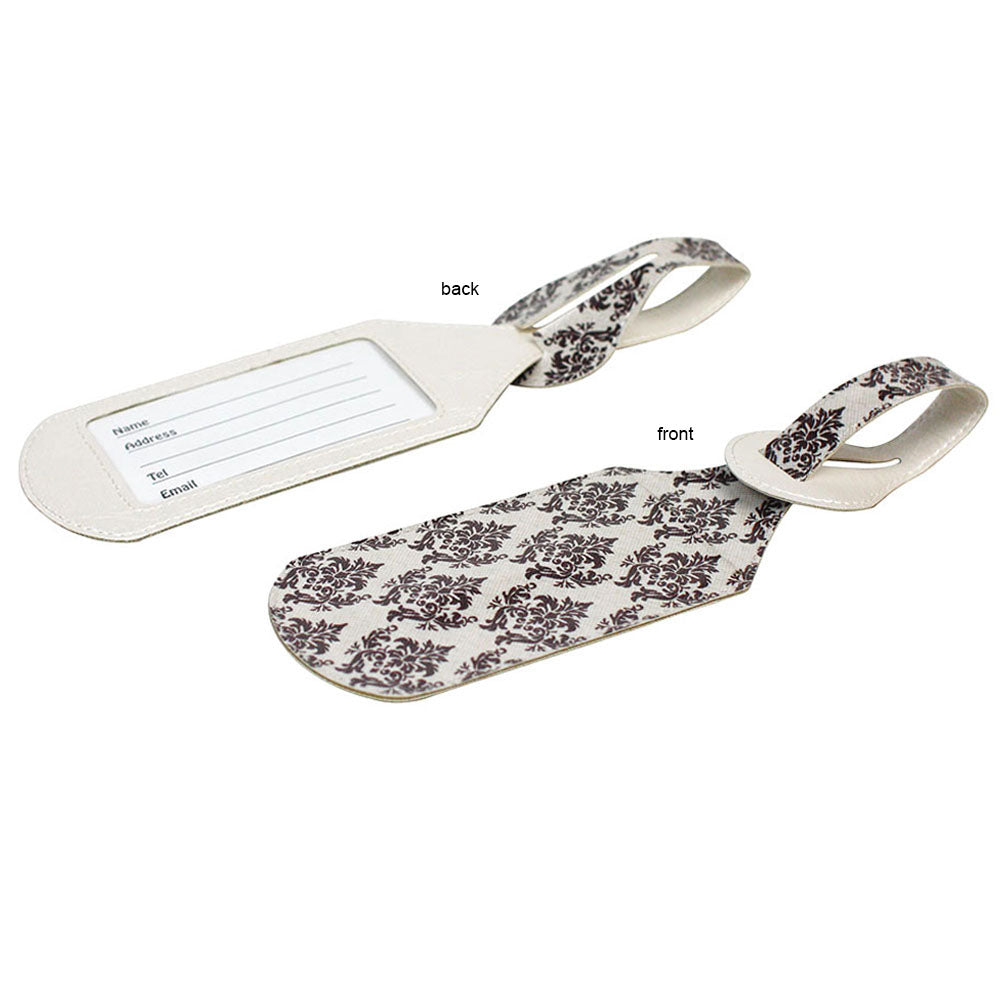 JAVOedge 2 Pack Brown Baroque Pattern Stylish Luggage Tags with Adjustable Strap for Carry On, Luggage, Travel