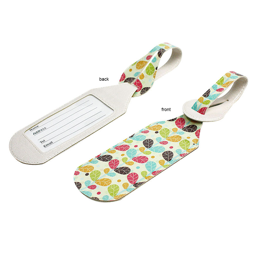 JAVOedge 2 Pack Retro Plant Print Stylish Luggage Tags with Adjustable Strap for Carry On, Luggage, Travel
