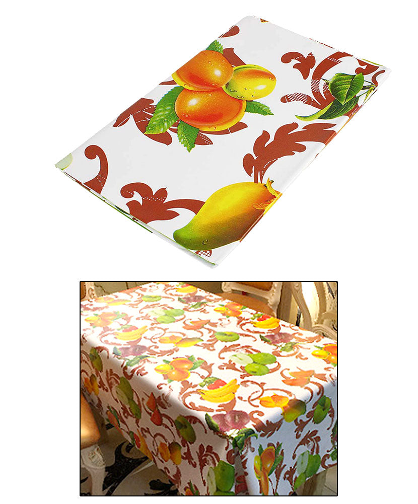 JAVOedge Floral Fruit Print Water Resistant Table Cloth + Metal Flower Table Weights 4 Pack for Picnic, Outdoor, BBQ