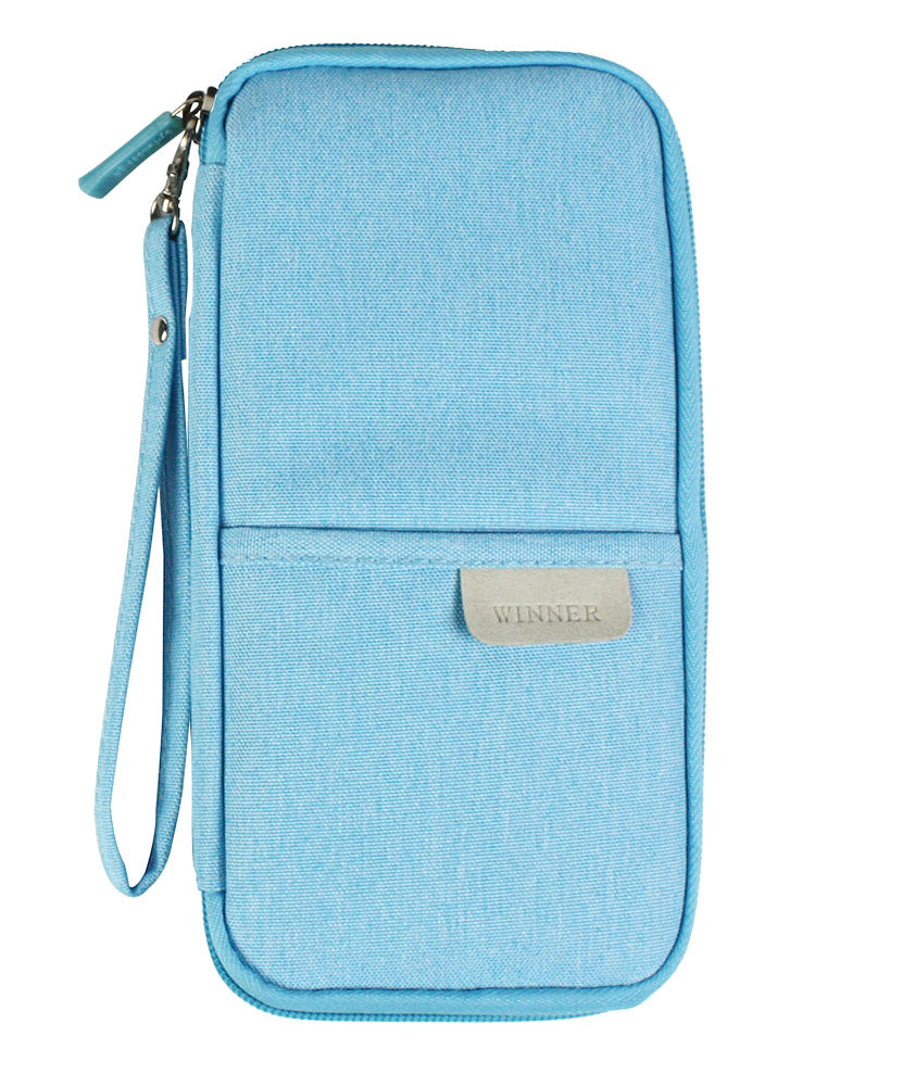 JAVOedge Blue Long Zippered Passport and Travel Document Organizer, Front Pocket, Wristlet